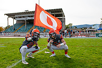 KELOWNA, BC - OCTOBER 6: Keagan Proudlock #25 and Brody Mcpherson #37 of Okanagan Sun stands on the field after the win against the VI Raiders at the Apple Bowl on October 6, 2019 in Kelowna, Canada. (Photo by Marissa Baecker/Shoot the Breeze)