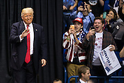 Republican presidential candidate Donald Trump takes the stage at Mohegan Sun Arena in Wilkes-Barre for a rally on Monday, April 25, 2016.<br /> Christopher Dolan / Staff Photographer