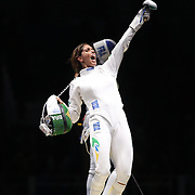 Opening Ceremony 2016  Fencing - Olympics: Day 1  Nathalie Moellhausen, Brazil, celebrates after defeating  Marie-Florence Candassamy, France<br />  during the Women's Épée Individual Quarterfinal at Carioca Arena 3 on August 6, 2016 in Rio de Janeiro, Brazil. (Photo by Tim Clayton/Corbis via Getty Images)