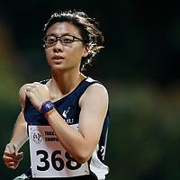 Loong Che Xing of Singapore Management University in action during the women's 5000m event. (Photo &copy; Lim Yong Teck/Red Sports) The 2018 Institute-Varsity-Polytechnic Track and Field Championships were held over three days in January.<br />