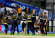 Morne Morkel of the Kolkata Knight Riders celebrates the wicket of David Miller of the Kings X1 Punjab during match 15 of the Pepsi Indian Premier League 2014 Season between The Kings XI Punjab and the Kolkata Knight Riders held at the Sheikh Zayed Stadium, Abu Dhabi, United Arab Emirates on the 26th April 2014<br /> <br /> Photo by Pal Pillai / IPL / SPORTZPICS
