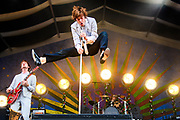 NEW ORLEANS, LA - MAY 05:  Matt Shultz of Cage the Elephant performs at Fair Grounds Race Course on May 5, 2018 in New Orleans, Louisiana.  (Photo by Erika Goldring/Getty Images)