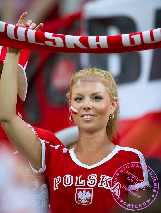 Poland's supporters before the UEFA EURO 2012 Group A football match between Poland and Czech Republic at Municipal Stadium in Wroclaw on June 16, 2012...Poland, Wroclaw, June 16, 2012..Picture also available in RAW (NEF) or TIFF format on special request...For editorial use only. Any commercial or promotional use requires permission...Photo by © Adam Nurkiewicz / Mediasport