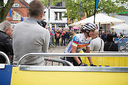Marianne Vos (NED) of Rabo-Liv Cycling Team rides to the start of the Aviva Women's Tour 2016 - Stage 2. A 140.8 km road race from Atherstone to Stratford upon Avon, UK on June 16th 2016.
