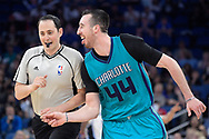 Charlotte Hornets center Frank Kaminsky (44) celebrates next to official Marat Kogut after making a three-point basket during the second half of an NBA basketball game against the Orlando Magic in Orlando, Fla., Wednesday, March 22, 2017. The Hornets won 109-102. (AP Photo/Phelan M. Ebenhack)