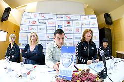 Marina Vergeljuk, Deja Ivanovic Doler, Jaka Kravanja, Marta Bon and Ljudmila Bodnjeva at press conference of women handball club RK Krim Mercator,  on October 20, 2009, in M Hotel, Ljubljana, Slovenia.   (Photo by Vid Ponikvar / Sportida)