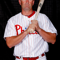 February 22, 2011; Clearwater, FL, USA; Philadelphia Phillies catcher Brian Schneider (23) poses during photo day at Bright House Networks Field. Mandatory Credit: Derick E. Hingle