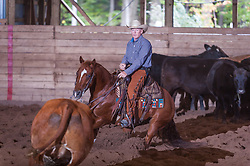 September 23, 2017 - Minshall Farm Cutting 5, held at Minshall Farms, Hillsburgh Ontario. The event was put on by the Ontario Cutting Horse Association. Riding in the $25,000 novice Horse Non-Pro Class is Scott Reed on LL Crocket Rocket owned by the rider.