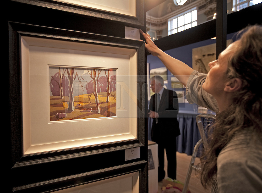 © Licensed to London News Pictures. 19/04/2012. London, U.K..Lucy Carty from Artshouse puts up artworks at The Chelsea Art Fair in Chelsea Old Town Hall where Around 35 galleries and dealers offer modern British and contemporary art for sale, including paintings, drawings, etchings and sculptures. Represents 500 international artists, with art worth up to £20k. The fair runs from 19th April - 22nd April..Photo credit : Rich Bowen/LNP