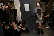 Models in the dressing room, before designer Hiroko Ito's (HUSUI) fashion show at Laforet Museum in Harajuku. Tokyo 25 March 2009