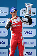 Mahindra Racing driver, Bruno Senna celebrating during Round 9 of Formula E, Battersea Park, London, United Kingdom on 2 July 2016. Photo by Matthew Redman.