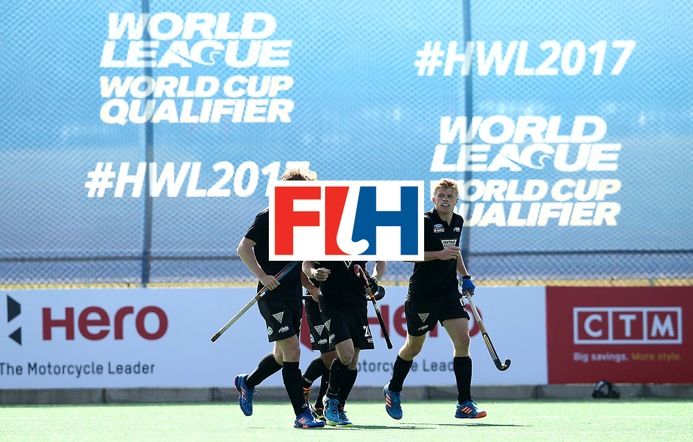 JOHANNESBURG, SOUTH AFRICA - JULY 09:  Hugo Inglis of New Zealand celebrates his goal with team mates during day 1 of the FIH Hockey World League Semi Finals Pool A match between New Zealand and France at Wits University on July 9, 2017 in Johannesburg, South Africa.  (Photo by Jan Kruger/Getty Images for FIH)