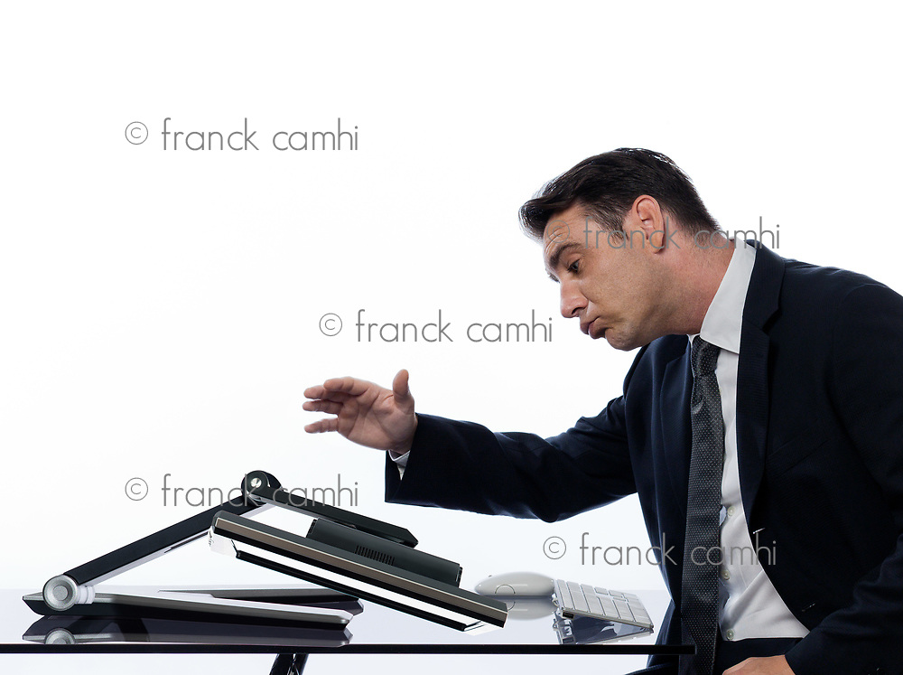 relationship between a caucasian man and a computer display monitor on isolated white background expressing comfort failure concept