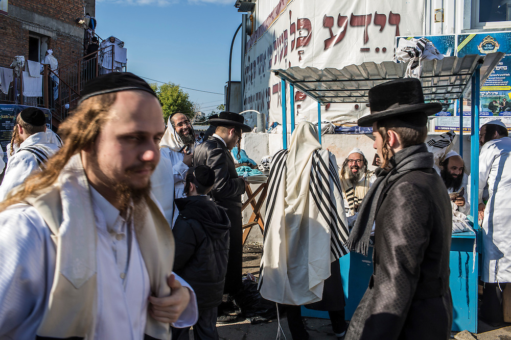 UMAN, UKRAINE - SEPTEMBER 14: Hasidic pilgrims gather near the burial site of Rebbe Nachman of Breslov on September 14, 2015 in Uman, Ukraine. Every year, tens of thousands of Hasidim gather for Rosh Hashanah in the city to pray at the holy site. (Photo by Brendan Hoffman/Getty Images) *** Local Caption ***