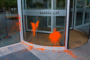 1 October 2018: Paint bombs from right wing attack on the Ajuntament, or town hall, of Sant Cugat del Valles, Barcelona, Catalonia, to counter commeration of police attacks on independence referendum voters on 1 October 2017. Sant Cugat is a pro-independence city.