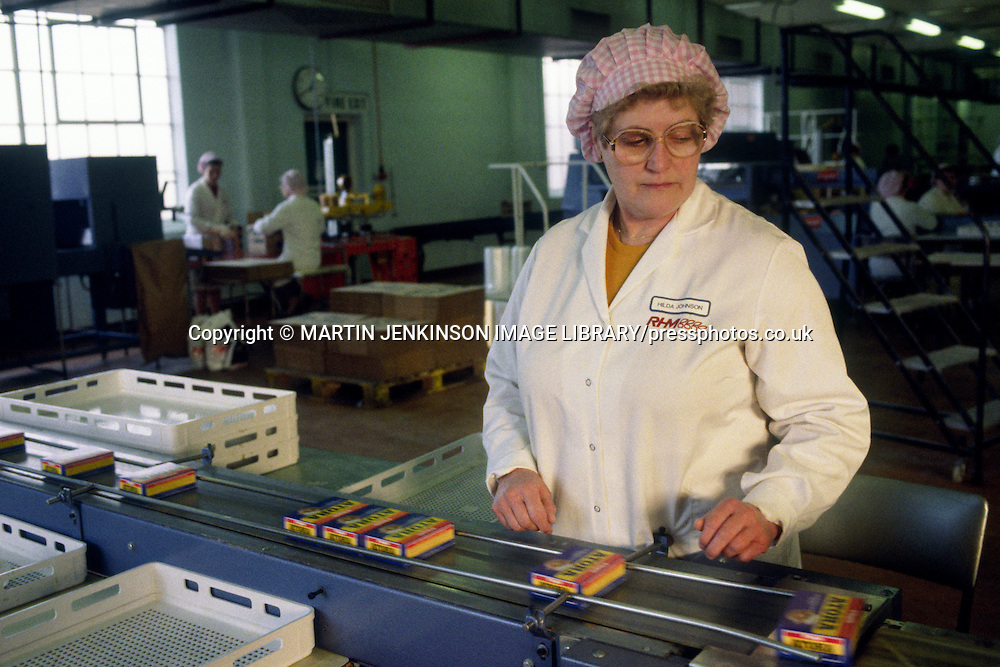 Woman on the Atora production line at Rank Hovis McDougall, Greatham Hartlepool.