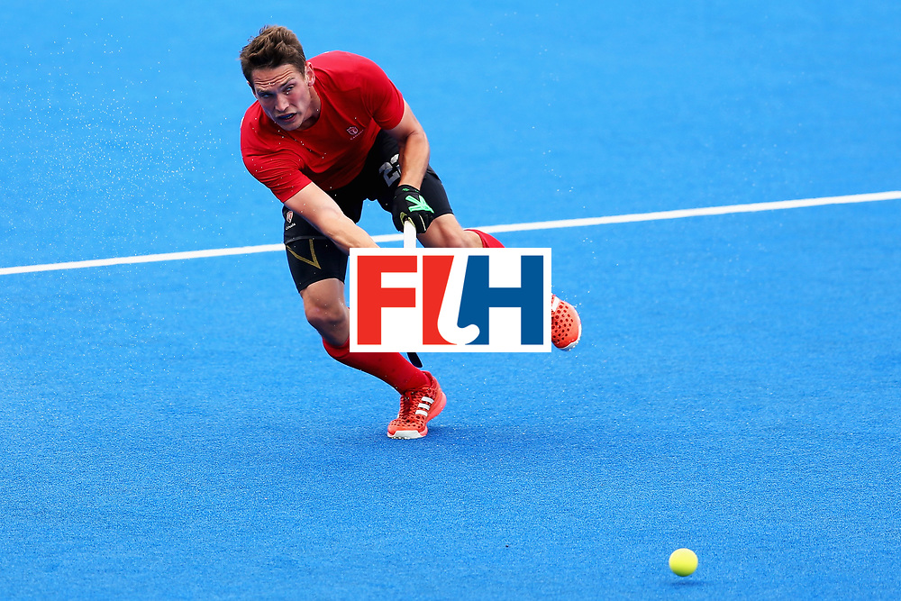 LONDON, ENGLAND - JUNE 24:  John Smythe of Canada in action during the 5th-8th place match between Canada and China on day eight of the Hero Hockey World League Semi-Final at Lee Valley Hockey and Tennis Centre on June 24, 2017 in London, England.  (Photo by Steve Bardens/Getty Images)