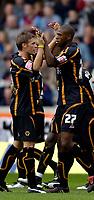 Fotball<br /> England 2005/2006<br /> Foto: SBI/Digitalsport<br /> NORWAY ONLY<br /> <br /> Wolverhampton Wanderers v Aston Villa<br /> Pre Season Friendly.<br /> 30/07/2005.<br /> <br /> Wolves' Carl Cort (R) celebrates his goal.