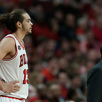 16 April 2011: Chicago Bulls center Joakim Noah (13) is seen next to Chicago Bulls head coach Tom Thibodeau during the Chicago Bulls 104-99 victory over the Indiana Pacers, during the game 1 of the Eastern Conference first round at the United Center, Chicago, Illinois, USA.