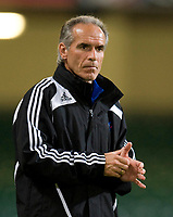 CARDIFF, WALES - Saturday, October 11, 2008: Liechtenstein's head coach Hans-Peter Zaugg during the 2010 FIFA World Cup South Africa Qualifying Group 4 match at the Millennium Stadium. (Photo by David Rawcliffe/Propaganda)