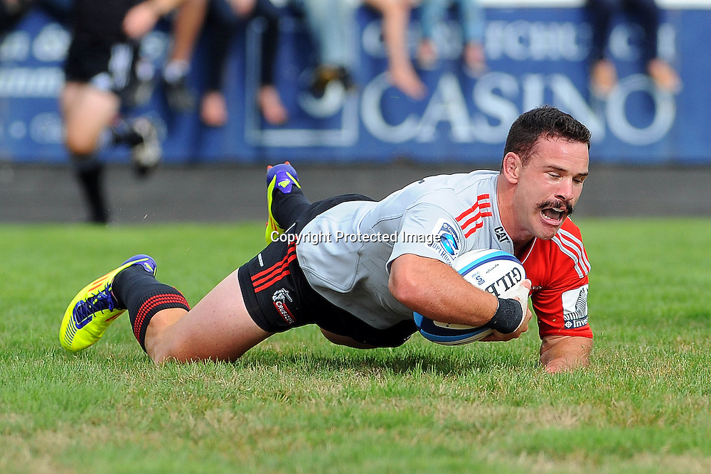 Ryan Crotty scores his third try during their Super Rugby Pre-season game Crusaders v Highlanders. Rugby Park, Greymouth, New Zealand. Friday 3 February 2012. Photo: Chris Symes/www.photosport.co.nz