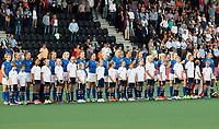 AMSTELVEEN -  line up Tsjechie bij Nederland-Tsjechie (dames) bij de Rabo EuroHockey Championships 2017.  COPYRIGHT KOEN SUYK