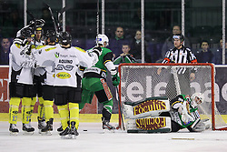 16.12.2012, Hala Tivoli, Ljubljana, SLO, EBEL, HDD Telemach Olimpija Ljubljana vs Dornbirner Eishockey Club, 31. Runde, in picture Players of of Dornbirner Eishockey Club celebrate after scoring a goal during the Erste Bank Icehockey League 31st Round match between HDD Telemach Olimpija Ljubljana and Dornbirner Eishockey Club at the Hala Tivoli, Ljubljana, Slovenia on 2012/12/16. (Photo By Matic Klansek Velej / Sportida)