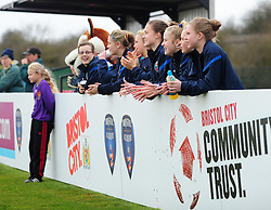 fans look on - Photo mandatory by-line: Dougie Allward/JMP - Tel: Mobile: 07966 386802 14/04/2013 - SPORT - FOOTBALL - Stoke Gifford Stadium - Bristol - Bristol Academy Womens V Everton Ladies - FA Women's Cup 6th Round