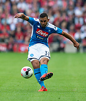 EDINBURGH, SCOTLAND - JULY 28: <br /> Napoli Left-Back, Faouzi Ghoulam, shoots during the Pre-Season Friendly match between Liverpool FC and SSC Napoli at Murrayfield on July 28, 2019 in Edinburgh, Scotland. (Photo by MB Media)