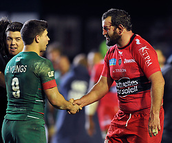 Ben Youngs of Leicester Tigers shakes hands with Carl Hayman of Toulon after the match - Photo mandatory by-line: Patrick Khachfe/JMP - Mobile: 07966 386802 07/12/2014 - SPORT - RUGBY UNION - Leicester - Welford Road - Leicester Tigers v Toulon - European Rugby Champions Cup