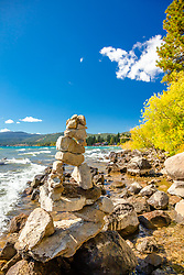 """Cairn at Lake Tahoe 3"" - Photograph of fall colors and a rock cairn along the shore of a windy and wavy Kings Beach, Lake Tahoe."