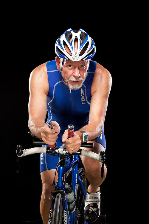 Senior athlete Terry Schlee, 59, of Mount Ulla, N.C., participates in a number of triathlons around the state and enjoys riding and training with his wife and children. Photographed in Charlotte, N.C., on Friday, Dec. 3, 2010. ..Photo by D.L. Anderson..Michael Wichita | AARP Bulletin.Model Release - Yes