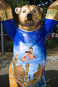 United Buddy Bears exhibition in front of Karlskirche, Vienna. Iraq, bear by Furat al Jamil...An idea on its tour around the word: 137 Buddy Bears, created in Berlin/Germany, are standing peacefully hand in hand to represent 137 United Nations member states. An exhibition under the motto WE HAVE TO GET TO KNOW EACH OTHER BETTER it makes us understand one another better, trust each other more and live together more peacefully...The idea for this exhibition was created 2002 by the inventors of the Buddy Bears Eva and Klaus Herlitz. More than 140 artists, each one coming from the country his bear represents, show the art style of their home countries. Standing in a circle the bears form a unique work of art altogether. The individual design of each bear includes a lot of information about the different countries. Together with the symbolism of the circle love, peace, friendship, tolerance and international understanding are promoted. In each city where the circle is shown activities (e.g. auctions) raise money for children in need. ..At the end of the world tour and in between the bears will be sold by charitable auction for UNICEF and other organisations helping needy children all over the world.