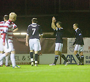 Gavin Rae applauds the traveling support after completing the scoring  - Hamilton Academical v Dundee - IRN BRU Scottish Football League First Division - at New Douglas Park. .- © David Young -.5 Foundry Place - .Monifieth - .Angus - .DD5 4BB - .Tel: 07765 252616 - .email: davidyoungphoto@gmail.com - .http://www.davidyoungphoto.co.uk