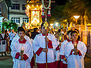 30 MARCH 2018 - BANGKOK, THAILAND: Altar attendants lead a procession of honoring Jesus after the crucifixion during Good Friday observances at Santa Cruz Church in the Thonburi section of Bangkok. Santa Cruz Church is more than 350 years old and is one of the oldest Catholic churches in Thailand. Good Friday is the day that most Christians observe as the crucifixion of Jesus Christ. Thailand has a small Catholic community.       PHOTO BY JACK KURTZ