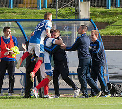 Cowdenbeath's Greg Stewart celebrates after scoring their goal with the bench.<br /> Cowdenbeath 1 v 0 Falkirk, 14/9/2013.<br /> &copy;Michael Schofield.