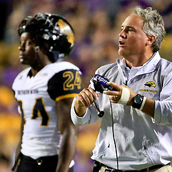 Oct 15, 2016; Baton Rouge, LA, USA;  Southern Miss Golden Eagles head coach Jay Hopson during the second quarter of a game against the LSU Tigers at Tiger Stadium. Mandatory Credit: Derick E. Hingle-USA TODAY Sports