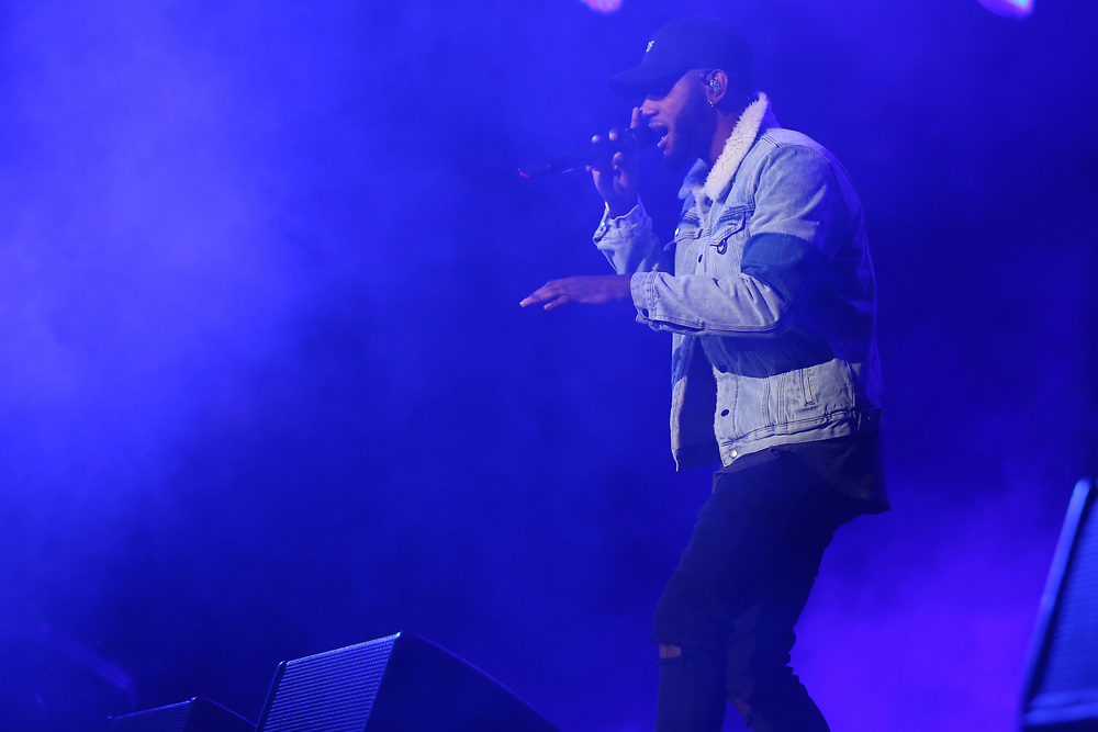 Bryson Tiller performs at the 2017 BET Experience at The Staples Center on Friday June 23, 2017, in Los Angeles. (Photo by Willy Sanjuan/Invision/AP)