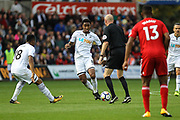 Leroy Fer of Swansea City narrowly avoids Referee Lee Mason during the Premier League match between Swansea City and Watford at the Liberty Stadium, Swansea, Wales on 23 September 2017. Photo by Andrew Lewis.