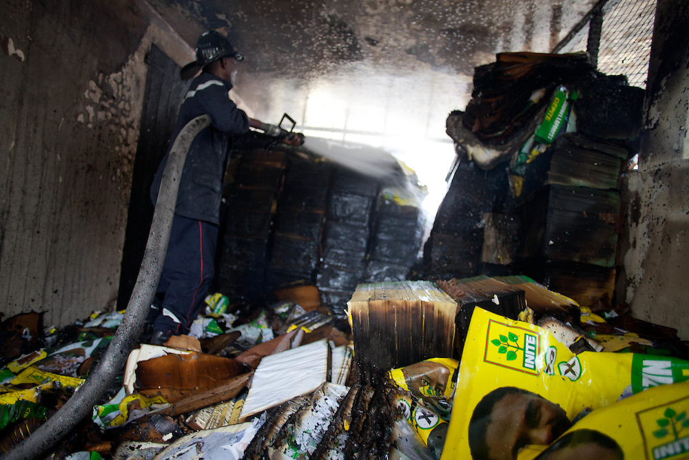 The INITE party's headquarters are burnt by protestors who are protesting the results of the January 28th election, which were announced last night.