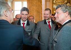 29.01.2014, Hofburg, Wien, AUT, Sochi 2014, Vereidigung OeOC, im Bild Bundespräsident Heinz Fischer, Benjamin Raich, Klaus Kröll und Mathias Berthold // Austrians President Heinz Fischer, Benjamin Raich, Klaus Kröll and Mathias Berthold during the swearing-in of the Austrian National Olympic Committee for Sochi 2014 at the  Hofburg in Vienna, Austria on 2014/01/29. EXPA Pictures © 2014, PhotoCredit: EXPA/ JFK