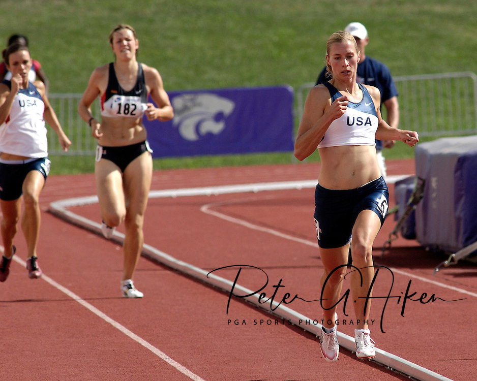 Reidun Wallin of the United States (R) won the 800-meters run and finished third in overall points in the heptathlon, at the Nike Combined Events Challenge at the R.V. Christian Track Complex on the campus of Kansas State University in Manhattan, Kansas, August 6, 2006.