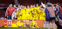 Manchester, England - Thursday, April 26, 2007: Liverpool's players celebrate winning the FA Youth Cup for the second successive year after beating Manchester United on penalties during the FA Youth Cup Final 2nd Leg at Old Trafford. (Pic by David Rawcliffe/Propaganda)