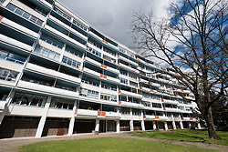 apartment building at Handelallee 3-9 by Walter Gropius at  Hansaviertel modernist housing estate in Berlin Germany