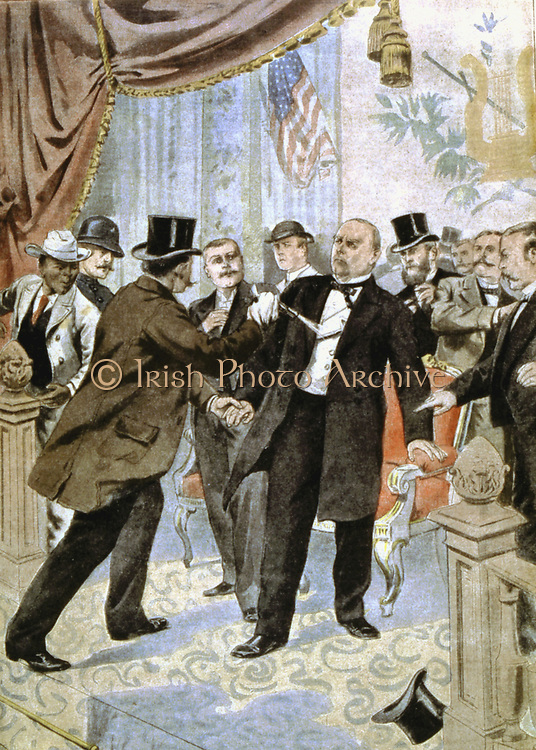 Assassination of William McKinley (1843-1901), 25th president of USA from 1896, shot by the anarchist Leon Czolgosz, Buffalo, N.Y., and died 8 days after. From 'Le Petit Journal', Paris, 22 September 1901.
