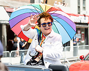 Billie Jean King at the Pride March in New York City, New York on June 24, 2018.