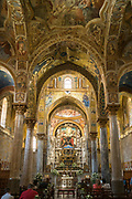Ornate altar, marble columns, domes in The Martorana Church, the Church of St Mary of the Admiral in Piazza Bellini, Palermo, Sicily