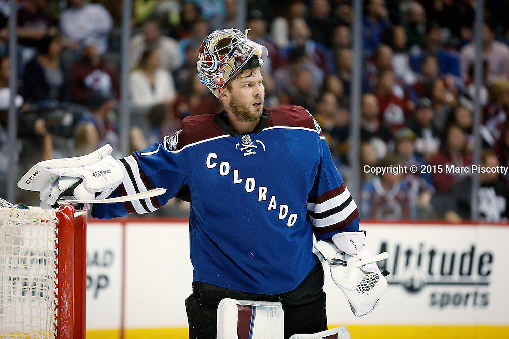 SHOT 3/28/15 8:55:52 PM - The Colorado Avalanche's Semyon Varlamov #1reacts after giving up a goal against the Buffalo Sabres  during their regular season NHL game at the Pepsi Center in Denver, Co. The Avalanche won the game 5-3. (Photo by Marc Piscotty / © 2015)