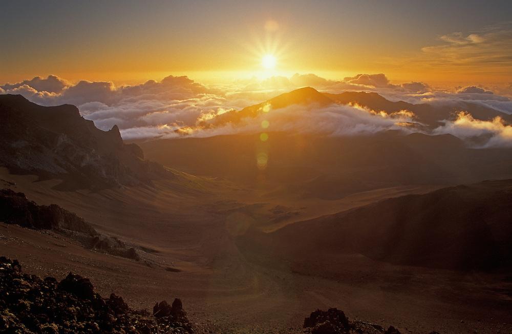 Sunrise over Haleakala Crater; Haleakala National Park, Maui, Hawaii.