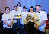 21/01/2015 repro free. James Slattery, Jonathon Cunniffe, Kai Casby, Nigel Gallagher, Eoghan Toner and Ciaran Flanagan from Codices , Claremorrisat the  SAP FIRST LEGO League Champions at the live national final in Galway  .<br />  <br /> Just under 300 students from 10 counties around Ireland travelled west to take part in the final which ran all day in the Radisson Blu hotel with heightening excitement and tension.  For each of the teams competing, this was the final leg of a challenging and exhilarating journey which saw them complete projects which addressed the huge question: &ldquo;What is The Future of Learning? &ldquo;.<br /> <br /> Photo:Andrew Downes